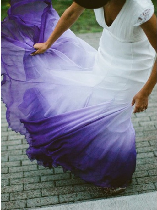 A-Line V-Neck Open Back Ombre Purple Chiffon Wedding Dress with Lace