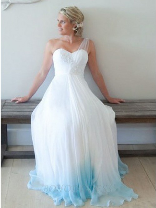A-Line Sweetheart Long Blue Ombre