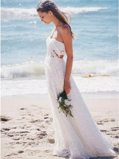 Boho Two Piece Strapless Floor Length White Backless Lace Wedding Dress 209 99 Wedding In Bohoddress Com