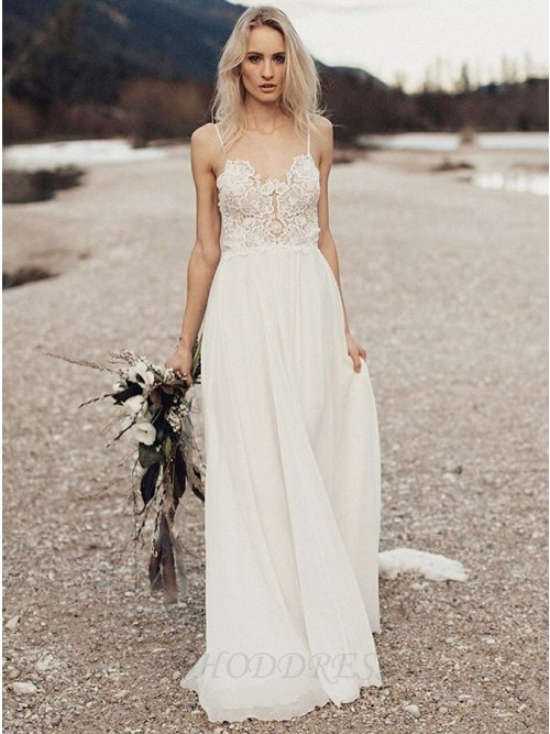 A-Line Spaghetti Straps Long Chiffon Wedding Dress with Lace