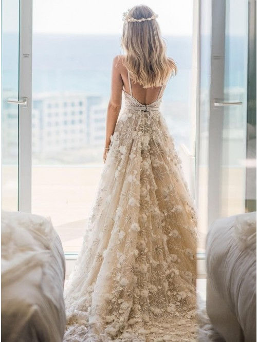 A Line Spaghetti Straps Backless Sweep Train White Wedding Dress With Lace Appliques