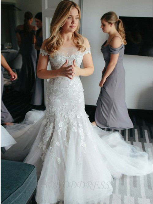 Mermaid Off-the-Shoulder Court Train White Tulle Wedding Dress with Appliques