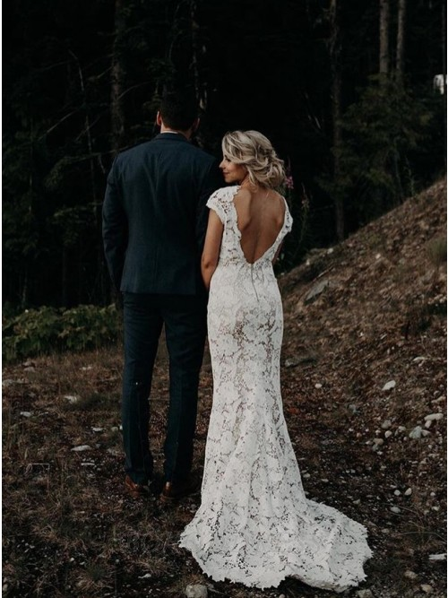 Mermaid V-Neck Cap Sleeves Backless Sweep Train Lace Wedding Dress