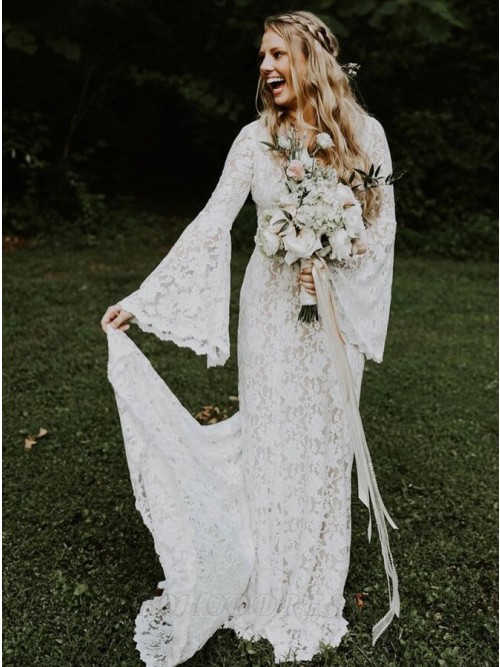 Mermaid V-Neck Bell Sleeves Backless Sweep Train Lace Wedding Dress