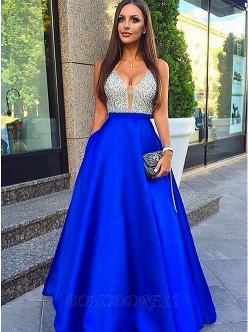 A-Line Deep V-Neck Floor-Length Royal Blue Prom Dress With Beading Pockets