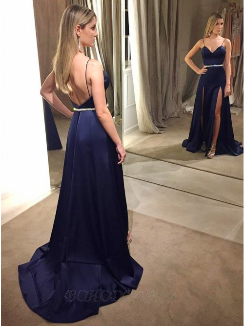 A-Line Spaghetti Straps Backless Navy Blue Prom Dress with Beading