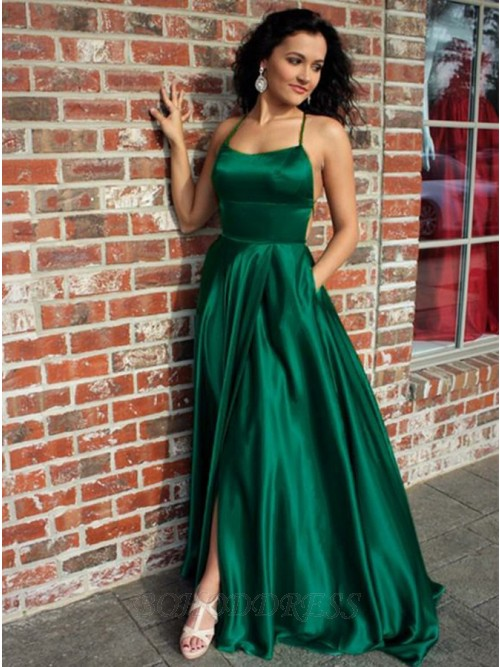 A-Line Spaghetti Straps Sweep Train Green Prom Dress with Split