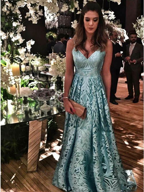 A-Line Spaghetti Straps Prom Dress Light Blue Lace Evening Dress with Pleats