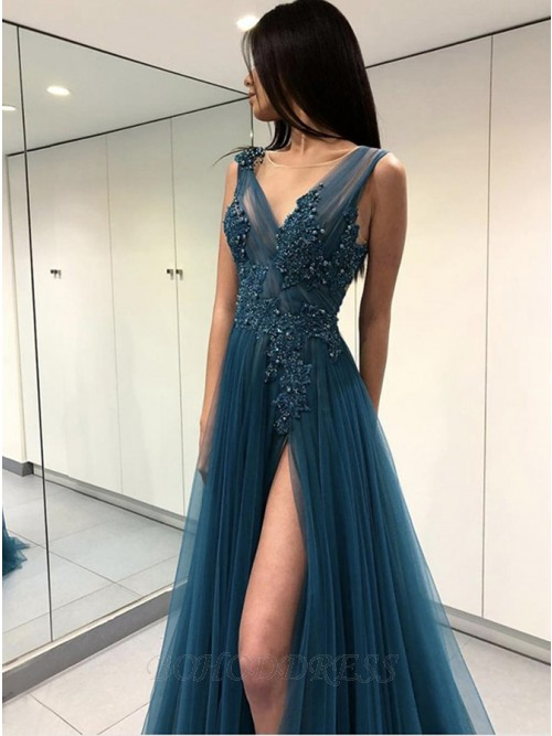 A-Line V-Neck Backless Turquoise Prom Dress with Appliques Beading Split