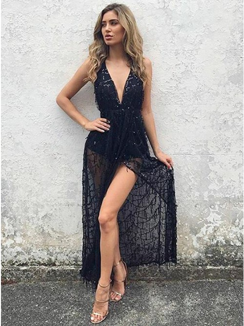 A-Line Halter Backless Navy Blue Lace Prom Dress with Sequins