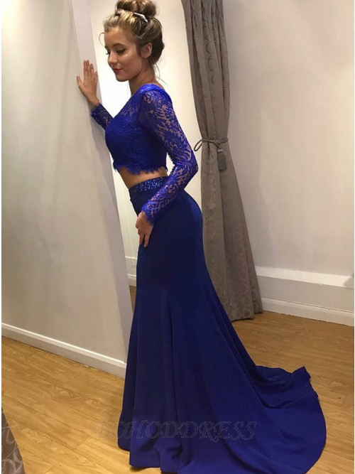 c14943653fb Two Piece Round Neck Long Sleeves Royal Blue Prom Dress with Lace ...