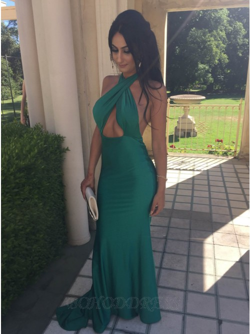 Mermaid Halter Backless Sweep Train Green Prom Dress with Keyhole