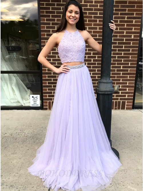 Two Piece Halter Backless Sweep Train Lavender Prom Dress with Lace Beading