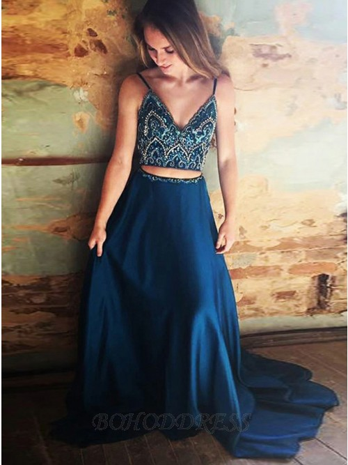 Two Piece Spaghetti Straps Long Navy Blue Prom Dress with Beading