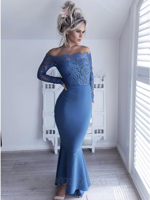 Mermaid Off-the-Shoulder Long Sleeves High Low Prom Bridesmaid Dress with Lace Bodice
