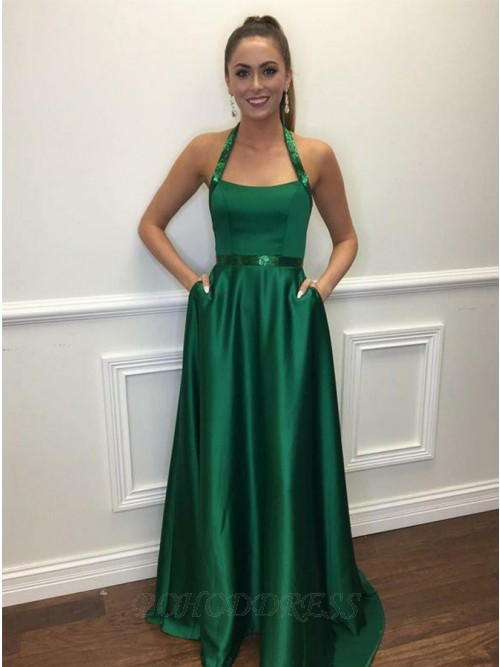A-Line Halter Floor Length Green Prom Dress with Pockets