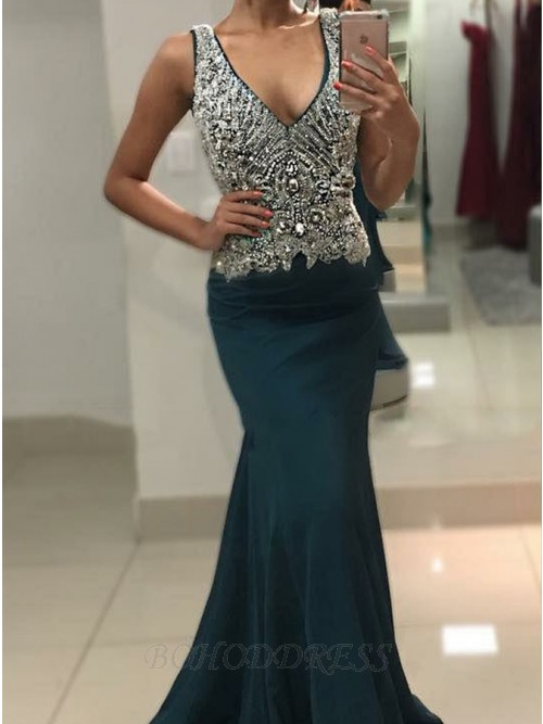 Mermaid V-Neck Sweep Train Prom Dress with Appliques Beading
