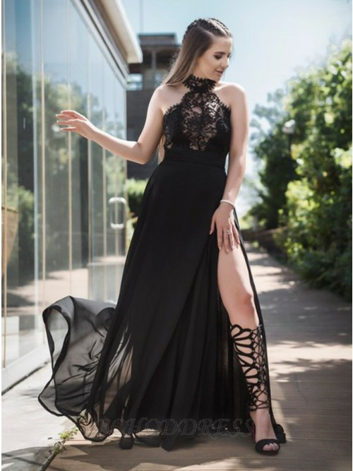 A-Line Halter Floor-Length Chiffon Prom Dress with Split Lace