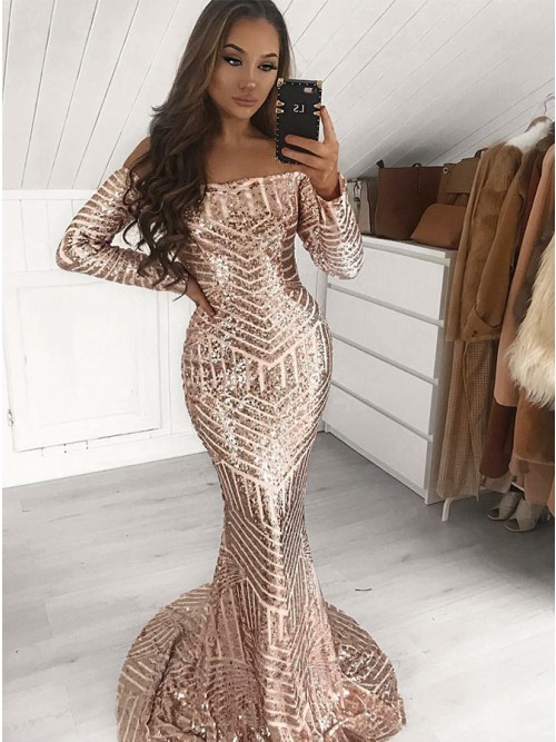 Mermaid Off-the-Shoulder Long Sleeves Sequined Prom/Evening Dress