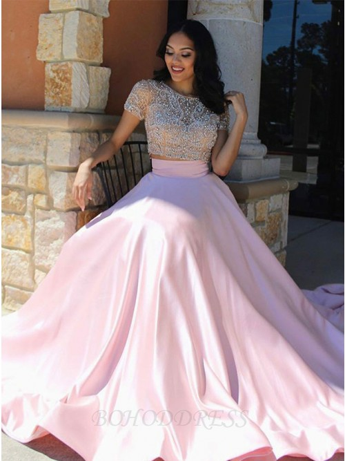Two Piece Round Neck Short Sleeves Prom Dress with Lace Beading