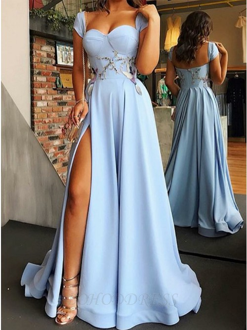 A-Line Square Floor-Length Prom/Evening Dress with Split Appliques