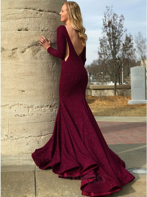 Mermaid Round Neck Sweep Train Long Sleeves Backless Prom/Evening Dress