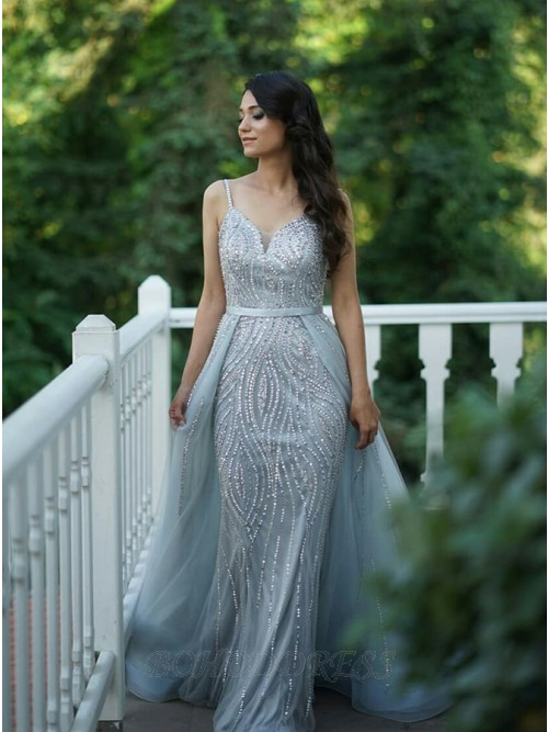 Detachable Spaghetti Straps Long Prom/Evening Dress with Beading