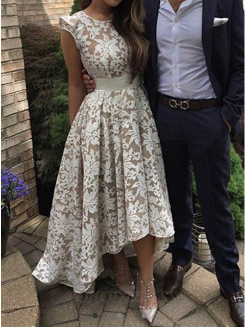 High Low Round Neck Floor-Length Ivory Lace Prom Dress