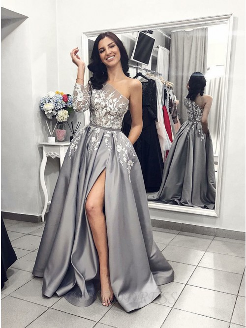 A-Line One-Shoulder Long Sleeves Prom Dress with Split Appliques