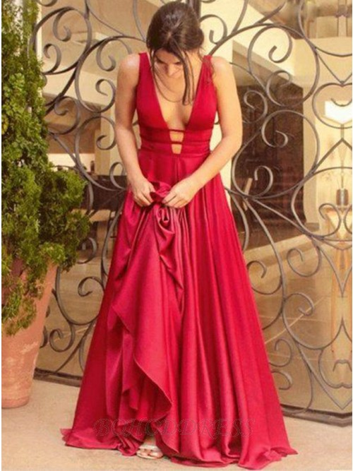 A-Line Deep V-Neck Sweep Train Red Long Formal Satin Prom Dresses Evening Dress