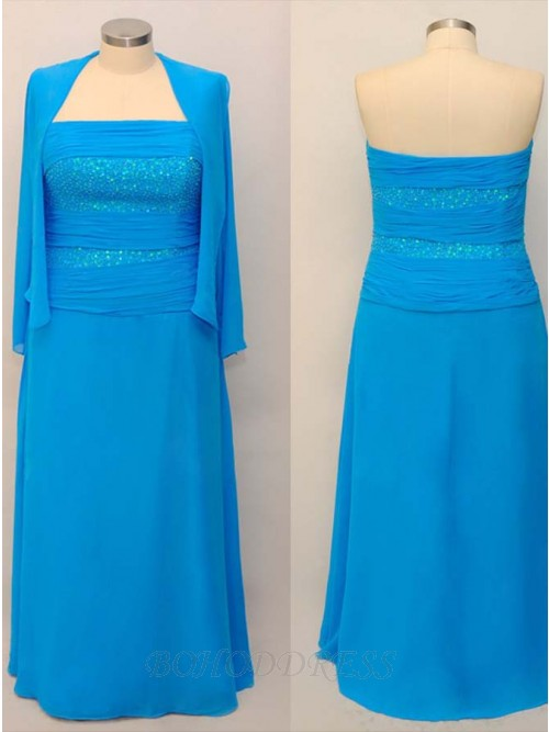 Exquisite Blue Plus Size Mother of the Bride Dresses with Jacket