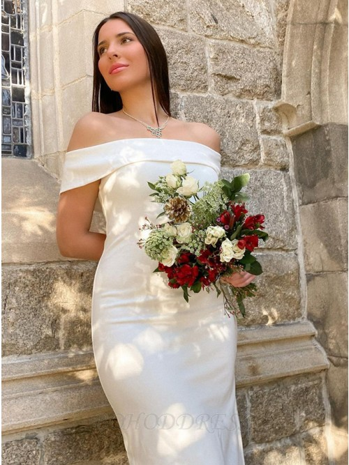 Sheath White Satin Ankle-Length Wedding Dress with Sleeveless