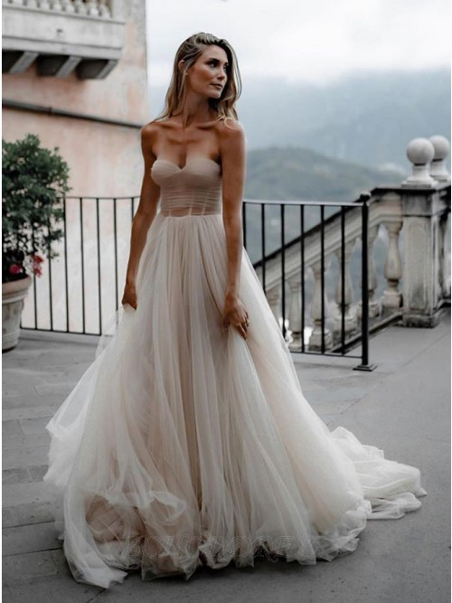 A-Line Sleeveless Sweep Train White Tulle Wedding Dress