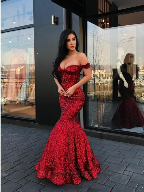 Mermaid Off-the-Shoulder Floor-Length Red Sequined Prom Dress