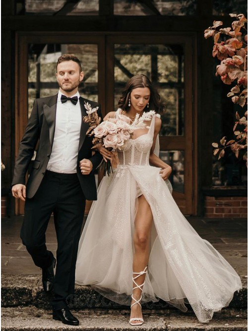 Whtie A-Line Sleeveless Sweep Train Wedding Dress with Sequins