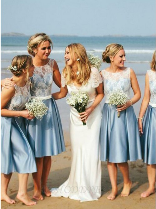A-Line Round Neck Knee-Length Bridesmaid Dress with Belt Lace