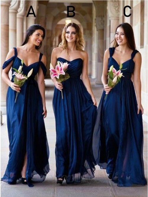 A-Line Cold Shoulder Floor-Length Bridesmaid Dress with Split