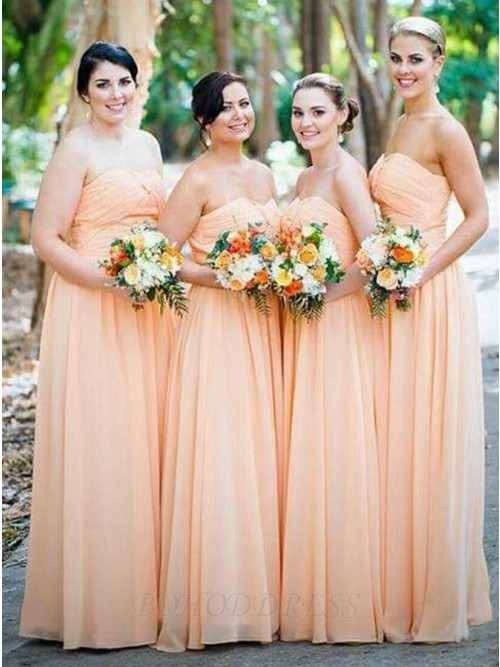 ef0f401728b4 Simple A-Line Sweetheart Floor-Length Orange Chiffon Bridesmaid Dress