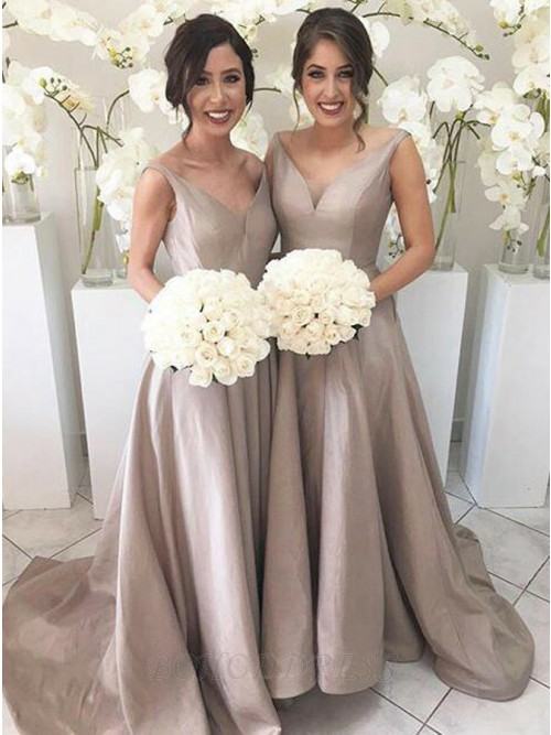 A-Line V-Neck Sweep Train Champagne Bridesmaid Dress with Pleats