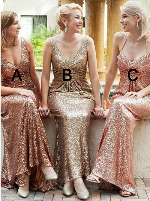 Sheath V-Neck Backless Champagne Sequined Bridesmaid Dress with Ruched