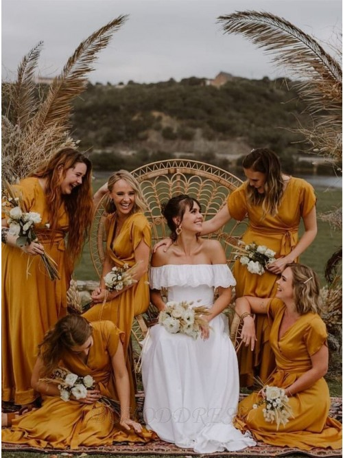Fancy V-neck Short Sleeves Yellow Ruched Bridesmaid Dress