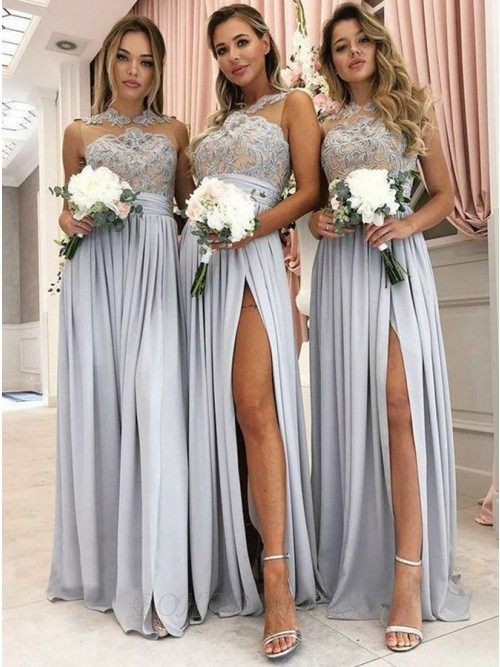A-Line Round Neck Floor-Length Bridesmaid Dress with Appliques Split