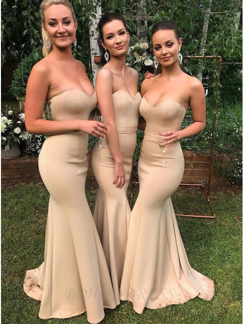Mermaid Sweetheart Backless Champagne Bridesmaid Dress with Pleats
