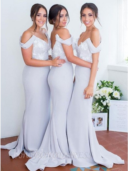 Mermaid Off the Shoulder Light Blue Long Bridesmaid Dress with Appliques