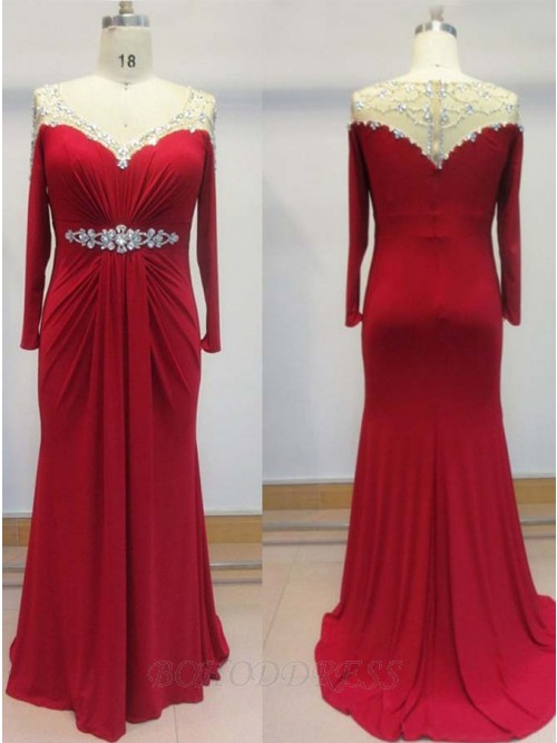 New Arrival Sheath Red Mother of the Bride Dresses Plus Size Rhinestone