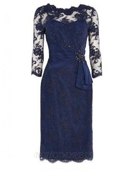 8e61bd00 Sheath 3/4 Sleeves Navy Blue Lace Mother of The Bride Dress with Beading