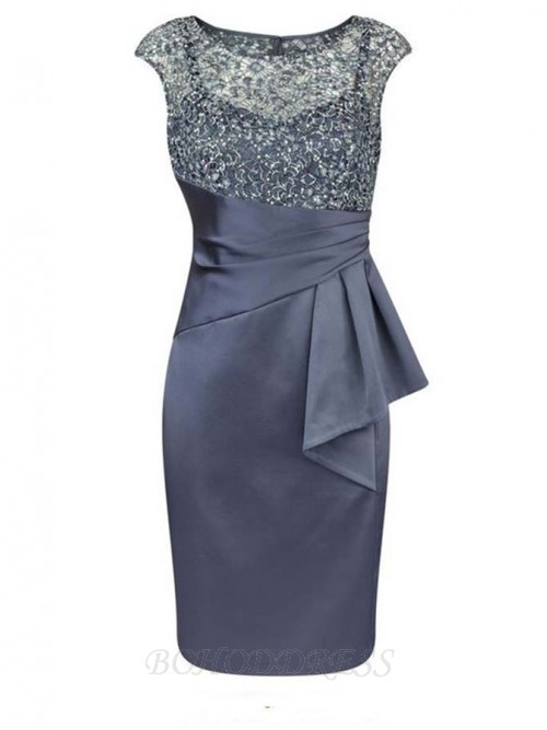 Short Sheath Bateau Cap Sleeves Mother of The Bride Dress with Beading Ruffles