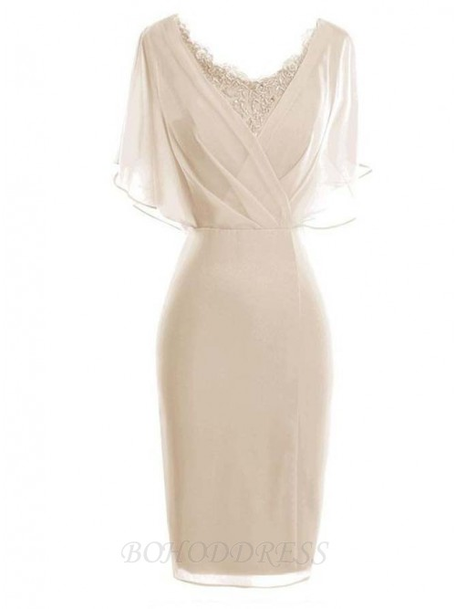 Sheath Scoop Short Sleeves Light Champagne Mother of The Bride Dress with Lace