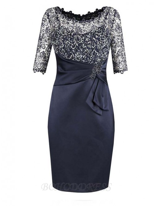 8bb0b63bee Sheath Bateau Half Sleeves Navy Blue Mother of The Bride Dress with Lace  Beading