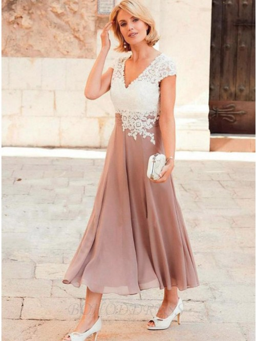A-line Sweetheart Mid-Calf Chiffon Mother of the Bride Dress with Appliques